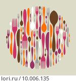 Купить «Circle shape made of cutlery icons», иллюстрация № 10006135 (c) PantherMedia / Фотобанк Лори