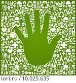 Купить «Hand with green icons background», иллюстрация № 10025635 (c) PantherMedia / Фотобанк Лори