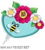 Купить «Spring time flower and Bee with qr code», иллюстрация № 10027927 (c) PantherMedia / Фотобанк Лори