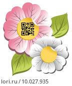 Купить «Spring time flower with qr code label», иллюстрация № 10027935 (c) PantherMedia / Фотобанк Лори