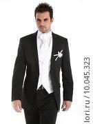 Купить «Handsome young man in tuxedo», фото № 10045323, снято 17 сентября 2019 г. (c) PantherMedia / Фотобанк Лори