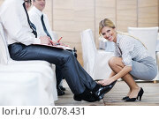 Купить «business woman standing with her staff at conference», фото № 10078431, снято 18 июля 2018 г. (c) PantherMedia / Фотобанк Лори