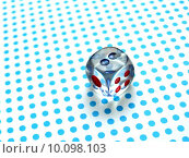 Купить «gamblig dice on blue dotted background», фото № 10098103, снято 17 июня 2019 г. (c) PantherMedia / Фотобанк Лори