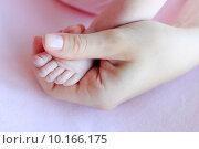 Купить «Ножка младенца в руке мамы», фото № 10166175, снято 11 октября 2013 г. (c) Морозова Татьяна / Фотобанк Лори