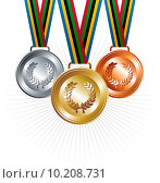 Купить «Gold, silver and bronze medals with ribbons background», иллюстрация № 10208731 (c) PantherMedia / Фотобанк Лори