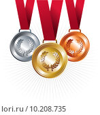Купить «Gold, silver and bronze medals with ribbon», иллюстрация № 10208735 (c) PantherMedia / Фотобанк Лори