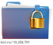 Купить «blue folder with golden hinged lock», фото № 10258791, снято 5 октября 2018 г. (c) PantherMedia / Фотобанк Лори