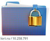 Купить «blue folder with golden hinged lock», фото № 10258791, снято 15 июля 2019 г. (c) PantherMedia / Фотобанк Лори