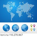 Купить «Dotted World maps and globes», иллюстрация № 10270867 (c) PantherMedia / Фотобанк Лори