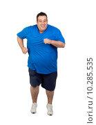 Купить «Fat man running », фото № 10285535, снято 23 мая 2019 г. (c) PantherMedia / Фотобанк Лори
