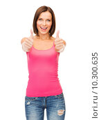 Купить «woman in blank pink tank top showing thumbs up», фото № 10300635, снято 25 июля 2013 г. (c) Syda Productions / Фотобанк Лори