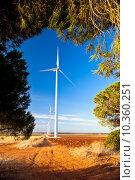 Купить «Typical windmill or aerogenerator of aeolian energy», фото № 10360251, снято 16 октября 2018 г. (c) PantherMedia / Фотобанк Лори