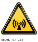 Купить «warning radio radiation transmitter electromagnetic», фото № 10410851, снято 13 декабря 2017 г. (c) PantherMedia / Фотобанк Лори