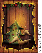 Купить «Christmas card - Rudolph with tree in wooden frame», фото № 10417259, снято 16 июня 2019 г. (c) PantherMedia / Фотобанк Лори
