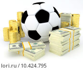 Купить «Sports betting concept - Soccer ball with banknotes and coins - 3D render», фото № 10424795, снято 22 января 2019 г. (c) PantherMedia / Фотобанк Лори