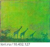 Купить «grunge background with African fauna and flora , raster», иллюстрация № 10432127 (c) PantherMedia / Фотобанк Лори