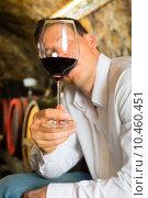 Купить «man wine sample cellar testing», фото № 10460451, снято 23 августа 2019 г. (c) PantherMedia / Фотобанк Лори