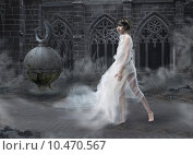 Купить «Mystery. Magic Woman Silhouette in Old Smoky Castle. Mystic Ancient Scenic», фото № 10470567, снято 14 декабря 2017 г. (c) PantherMedia / Фотобанк Лори