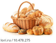 Купить « Bread and rolls in wicker basket isolated on white», фото № 10478275, снято 20 марта 2019 г. (c) PantherMedia / Фотобанк Лори