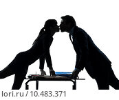 Купить «business woman man couple  lovers kissing silhouette», фото № 10483371, снято 22 января 2019 г. (c) PantherMedia / Фотобанк Лори