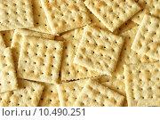 Купить «Soda Crackers Background», фото № 10490251, снято 27 марта 2019 г. (c) PantherMedia / Фотобанк Лори