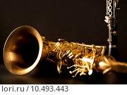 Купить «Classic music Sax tenor saxophone and clarinet in black», фото № 10493443, снято 18 марта 2019 г. (c) PantherMedia / Фотобанк Лори