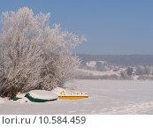 Купить «Frozen boats and tree, Saint Point lake, Jura, France», фото № 10584459, снято 22 июля 2019 г. (c) PantherMedia / Фотобанк Лори