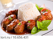 Купить «Greek Meatballs With Rice», фото № 10656431, снято 21 мая 2018 г. (c) PantherMedia / Фотобанк Лори