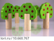 Купить «Wooden toy trees», фото № 10660767, снято 15 июля 2019 г. (c) PantherMedia / Фотобанк Лори