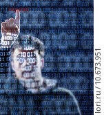 Купить «Hacker that just found the password», фото № 10673951, снято 24 января 2019 г. (c) PantherMedia / Фотобанк Лори
