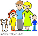 Купить «girl illustration boy family mother», иллюстрация № 10681359 (c) PantherMedia / Фотобанк Лори