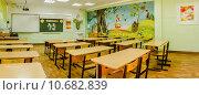 Купить «Панорама школьного класса перед первым сентября», фото № 10682839, снято 19 августа 2015 г. (c) Сергей Лысенко / Фотобанк Лори