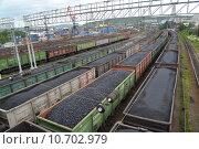 Купить «Товарные поезда с каменным углем на грузовом участке железнодорожной станции Мурманск», фото № 10702979, снято 17 июля 2015 г. (c) Ирина Борсученко / Фотобанк Лори