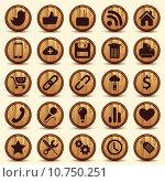 Купить «Social Icons, wood texture Buttons Set», фото № 10750251, снято 25 апреля 2019 г. (c) PantherMedia / Фотобанк Лори