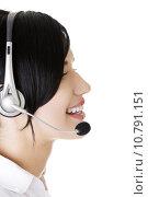 Купить «Beautiful young call-center assistant smiling », фото № 10791151, снято 25 апреля 2019 г. (c) PantherMedia / Фотобанк Лори