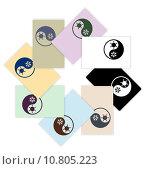 Купить «Symbol of climate balance in shape yin-yang as firm style on cards design», фото № 10805223, снято 23 мая 2019 г. (c) PantherMedia / Фотобанк Лори