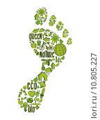 Купить «Green foot print with environmental icons», иллюстрация № 10805227 (c) PantherMedia / Фотобанк Лори