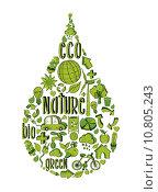 Купить «Green water drop with environmental icons», иллюстрация № 10805243 (c) PantherMedia / Фотобанк Лори
