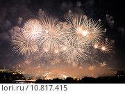 Салют в Москве. Первый Международный фестиваль фейерверков (2015 год). Стоковое фото, фотограф Алексей Бок / Фотобанк Лори