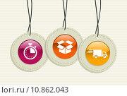 Купить «Hanging delivery badges.», иллюстрация № 10862043 (c) PantherMedia / Фотобанк Лори