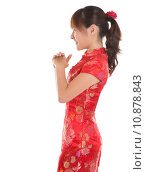 Купить «Side view Chinese cheongsam girl greeting», фото № 10878843, снято 16 июня 2019 г. (c) PantherMedia / Фотобанк Лори