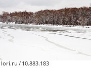 Купить «unfrozen patch of water in  icebound river», фото № 10883183, снято 19 июля 2019 г. (c) PantherMedia / Фотобанк Лори