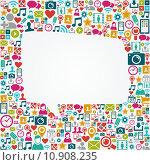 Купить «Social media icons white speech bubble shape EPS10 file.», иллюстрация № 10908235 (c) PantherMedia / Фотобанк Лори