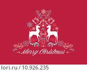 Купить «Vintage Merry Christmas text with reindeers design EPS10 file.», иллюстрация № 10926235 (c) PantherMedia / Фотобанк Лори