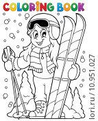 Купить «Coloring book skiing theme 1», иллюстрация № 10951027 (c) PantherMedia / Фотобанк Лори