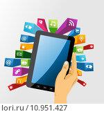 Купить «Human hand holds tablet pc with app icons.», иллюстрация № 10951427 (c) PantherMedia / Фотобанк Лори
