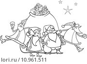 christmas santa claus coloring page. Стоковая иллюстрация, иллюстратор Igor Zakowski / PantherMedia / Фотобанк Лори