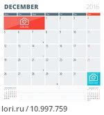 Calendar Planner 2016 Design Template with Place for Photos and Notes. December. Week Starts Monday. Стоковая иллюстрация, иллюстратор Михаил Моросин / Фотобанк Лори