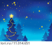 Купить «Christmas tree silhouette theme 7», иллюстрация № 11014651 (c) PantherMedia / Фотобанк Лори