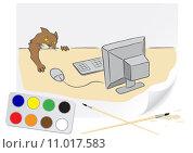 Купить «Drawing cat and computer», иллюстрация № 11017583 (c) PantherMedia / Фотобанк Лори